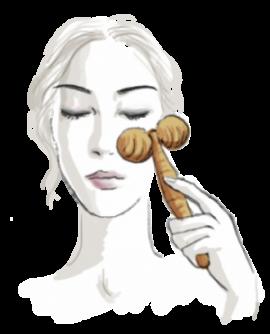 Leseni roller za masažo obraza