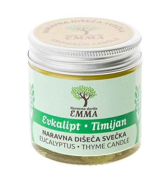 Naravna dišeča svečka EVKALIPT - TIMIJAN